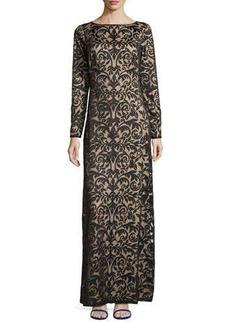 Tadashi Shoji Long-Sleeve Boat-Neck Lace Gown  Long-Sleeve Boat-Neck Lace Gown