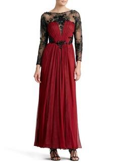 Tadashi Shoji Long-Sleeve Lace & Chiffon Gown