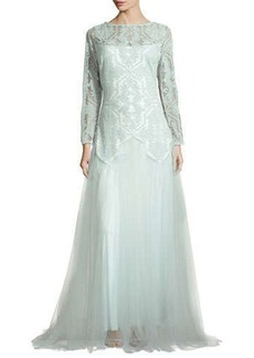 Tadashi Shoji Long-Sleeve Lace & Tulle Gown  Long-Sleeve Lace & Tulle Gown