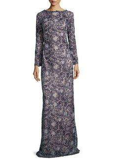 Tadashi Shoji Long-Sleeve Lace Overlay Gown