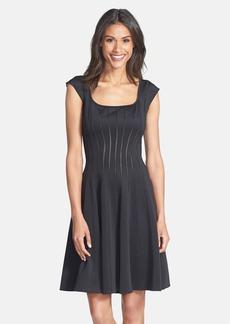 Tadashi Shoji Mesh Detail Knit Fit & Flare Dress