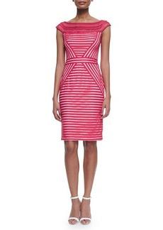 Tadashi Shoji Mesh-Neck Cap-Sleeve Striped Dress  Mesh-Neck Cap-Sleeve Striped Dress
