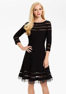 Tadashi Shoji Mesh Stripe Fit & Flare Dress (Regular & Petite)