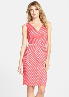 Tadashi Shoji Mesh Stripe V-Neck Sheath Dress