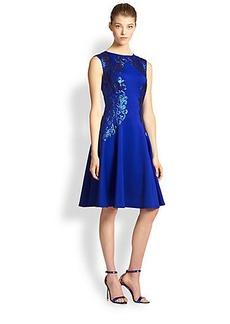 Tadashi Shoji Metallic-Embroidered Neoprene Dress