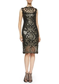 Tadashi Shoji Metallic Lace Overlay Cocktail Sheath Dress