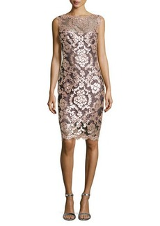 Tadashi Shoji Metallic Lace Overlay Cocktail Sheath Dress, Antique Pink