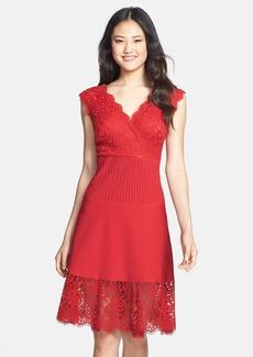 Tadashi Shoji Mixed Media A-Line Dress