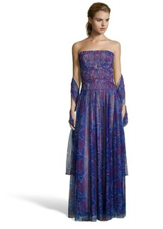 Tadashi Shoji mystic blue floral pleated tulle strapless evening gown