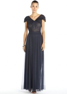 Tadashi Shoji navy mesh layered pleated knot front cap sleeve gown