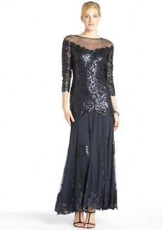 Tadashi Shoji navy sequined cotton blend lace long sleeve gown