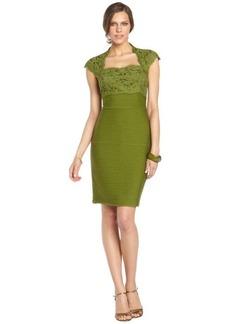 Tadashi Shoji olivine lace top and ribbed skirt cap sleeve dress