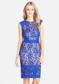 Tadashi Shoji Pleated Lace Sheath Dress