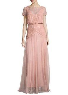Tadashi Shoji Popover Lace & Tulle Grecian Gown  Popover Lace & Tulle Grecian Gown
