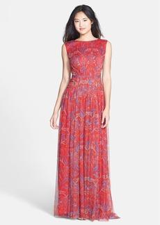 Tadashi Shoji Print Pleat Tulle Gown