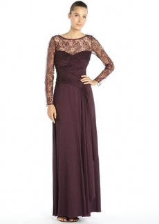 Tadashi Shoji purple stretch woven lace top long sleeve side slit dress