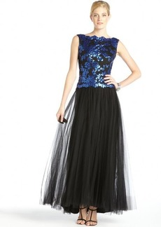 Tadashi Shoji sapphire and black sequined cotton blend tulle gown