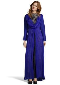 Tadashi Shoji sapphire silk open back lace detail evening gown
