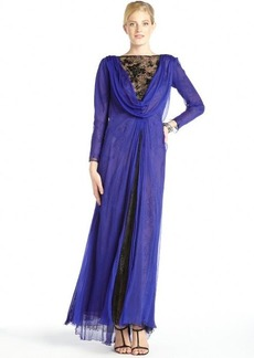 Tadashi Shoji sapphire silk open back lace detail gown