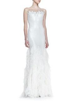 Tadashi Shoji Sequin-Bodice Feather-Skirt Gown, White