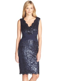 Tadashi Shoji Sequin Embroidered V-Neck Sheath (Regular & Petite)