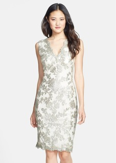 Tadashi Shoji Sequin Lace V-Neck Dress