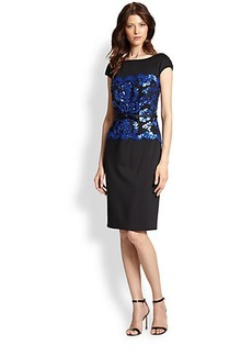 Tadashi Shoji Sequined Lace-Overlay Neoprene Dress
