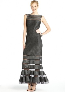 Tadashi Shoji shadow grey glitter and mesh sleeveless gown