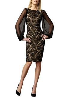Tadashi Shoji Sheer-Sleeve Lace Cocktail Dress  Sheer-Sleeve Lace Cocktail Dress