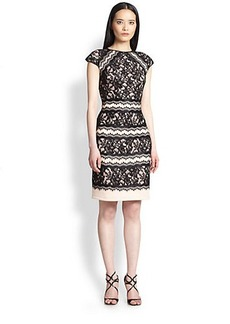 Tadashi Shoji Short-Sleeve Lace Cocktail Dress