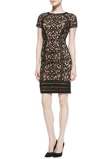Tadashi Shoji Short-Sleeve Lace-Overlay Cocktail Dress