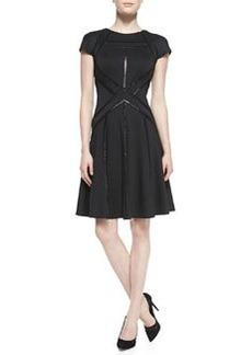 Tadashi Shoji Short-Sleeve Sequined Cocktail Dress