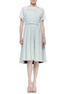 Tadashi Shoji Short Sleeve Strapless Dress with Pop Top, Mint