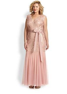 Tadashi Shoji, Sizes 14-24 Double V-Neck Sequin Lace Gown