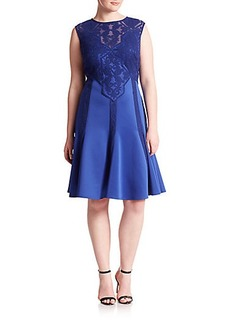 Tadashi Shoji, Plus Size Embroidered Lace A-Line Dress