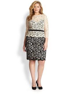 Tadashi Shoji, Plus Size Embroidered Lace Dress