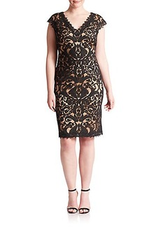Tadashi Shoji, Sizes 14-24 Embroidered V-Neck Dress