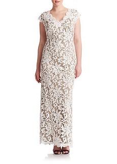 Tadashi Shoji, Sizes 14-24 Floral Lace Gown