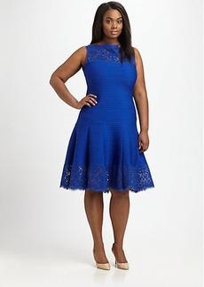 Tadashi Shoji, Plus Size Pintucked Flared Dress