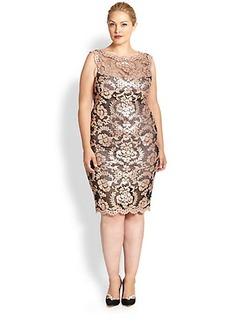 Tadashi Shoji, Sizes 14-24 Sequin Embroidered Lace Dress