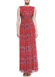 Tadashi Shoji Sleeveless Floral-Print Chiffon Gown