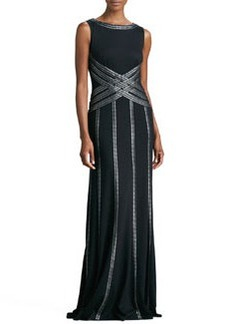 Tadashi Shoji Sleeveless Gown with Ribbon Striping