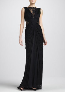 Tadashi Shoji Sleeveless Lace and Sequined Illusion Back Gown