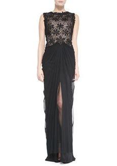 Tadashi Shoji Sleeveless Lace-Bodice Gown with Ruched Skirt