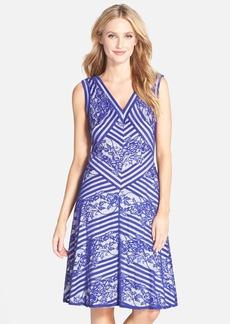 Tadashi Shoji Stripe & Lace A-Line Dress
