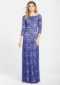 Tadashi Shoji Stripe Lace Gown