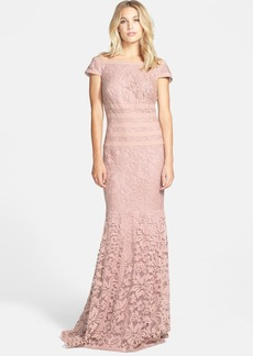 Tadashi Shoji Textured Lace Mermaid Gown