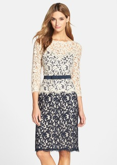 Tadashi Shoji Two-Tone Lace Sheath Dress (Regular & Petite)