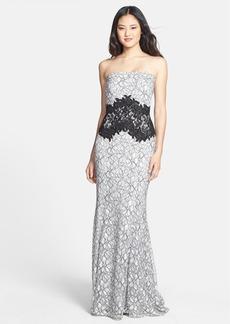 Tadashi Shoji Two-Tone Lace Strapless Gown