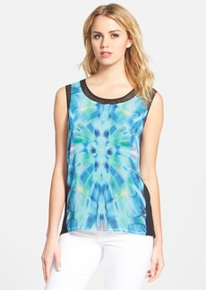 Tahari 'Adina' Print Mesh Trim Sleeveless Blouse